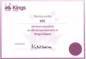 """Сертификат АНО """"ИИТО"""" как представителю Kings College"""